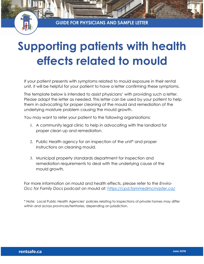 Guide for Physicians and Sample Letter Supporting patients with health effects related to mould, logo, page 1